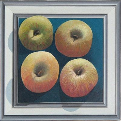 Four apples in a frame (print)