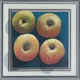 Four apples in a frame (print) by Patrick Lessware, Painting, Acrylic on board
