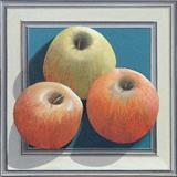 Three apples in a frame (print) by Patrick Lessware, Painting, Acrylic on board